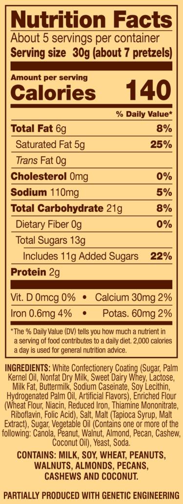 White Creme Pretzel Dips Nutrition Facts Panel