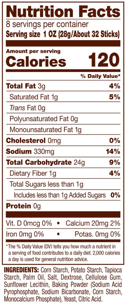 Gluten Free Pretzel Sticks Nutrition Facts Panel